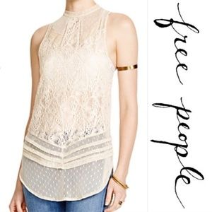 Free People XS Cream Hi-Lo mesh & lace tank